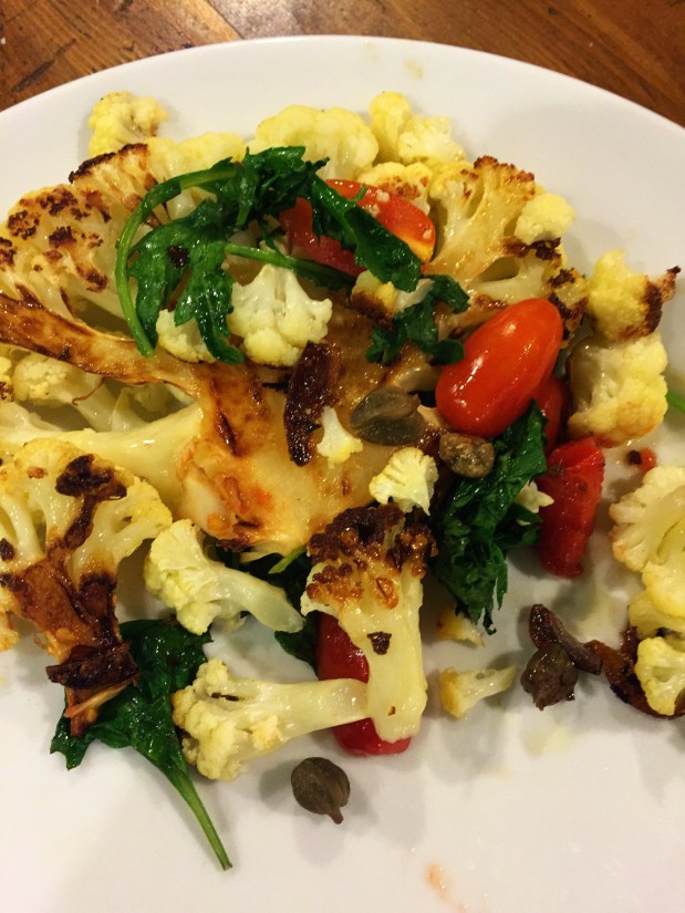 February – Pan-Roasted Cauliflower Steaks with Capers and Tomatoes