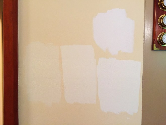 Left to right - Creamy White, Ballet White, Seal Pearl. Above on the right - Calm
