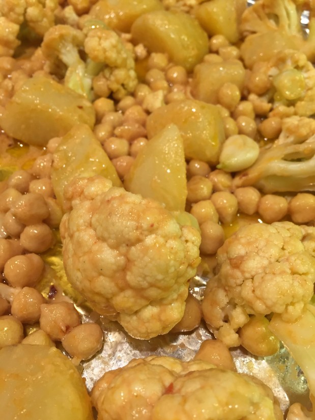 March – Roasted Cauliflower with Potatoes and Chickpeas
