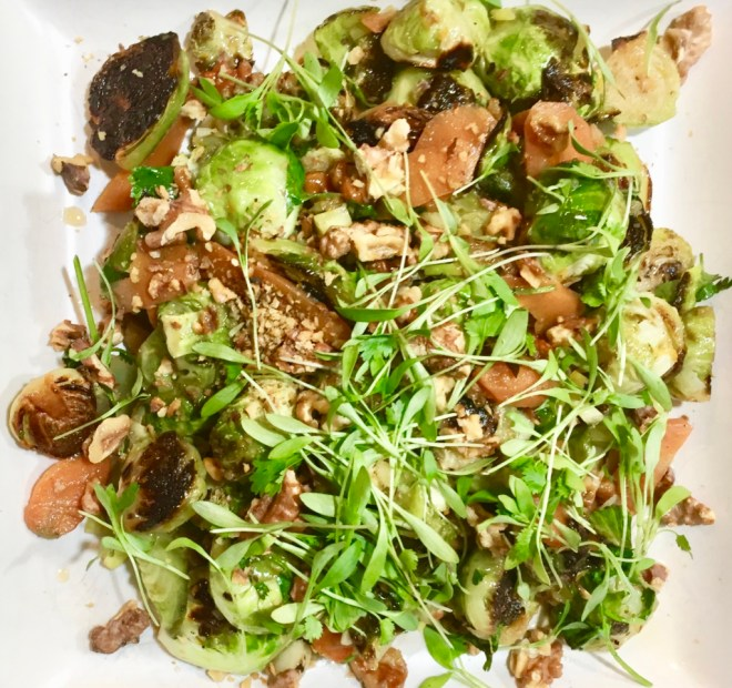 Brussels Sprouts with Pickled Carrots, Walnuts, Cilantro and Citrus Vinaigrette