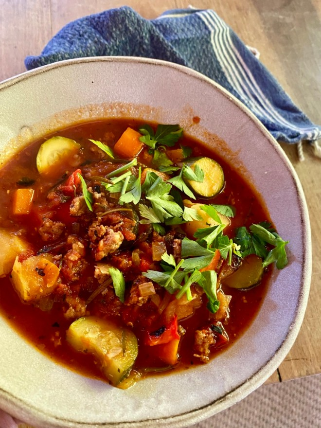 Italian tomato, sausage and zucchini soup