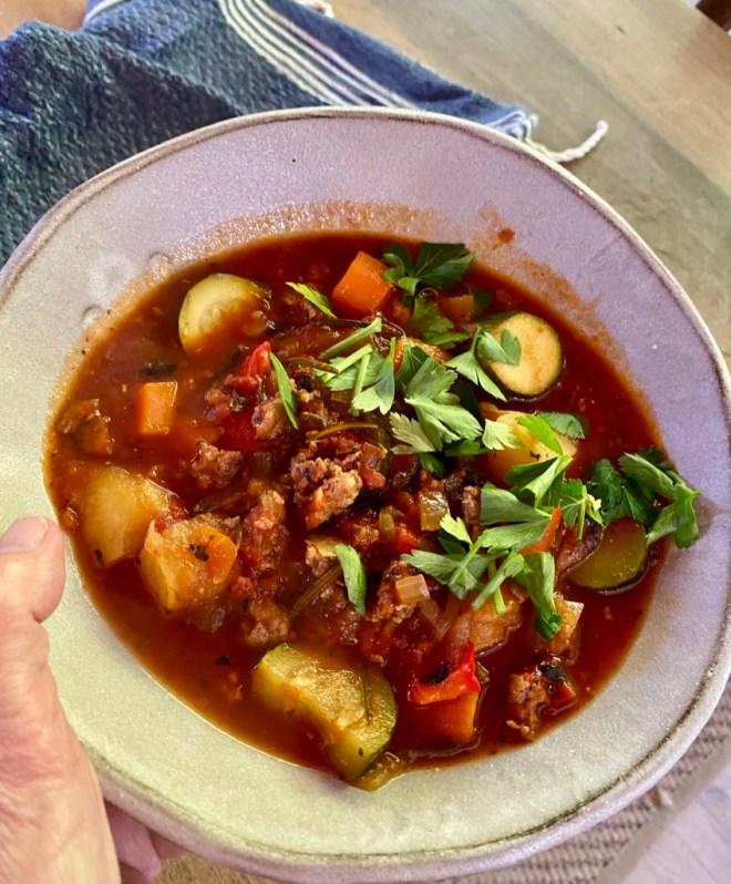 Italian Soup - Sausage, Zucchini and Tomato