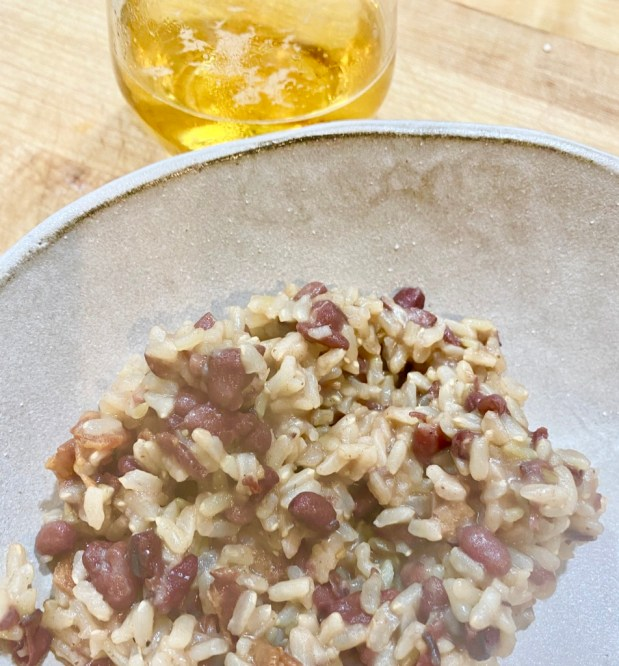 April – Aduki Beans with Bacon, Bourbon and Rice