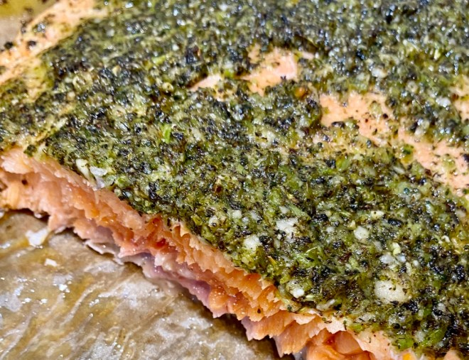 Slow Baked Salmon with Charred Broccoli Pesto