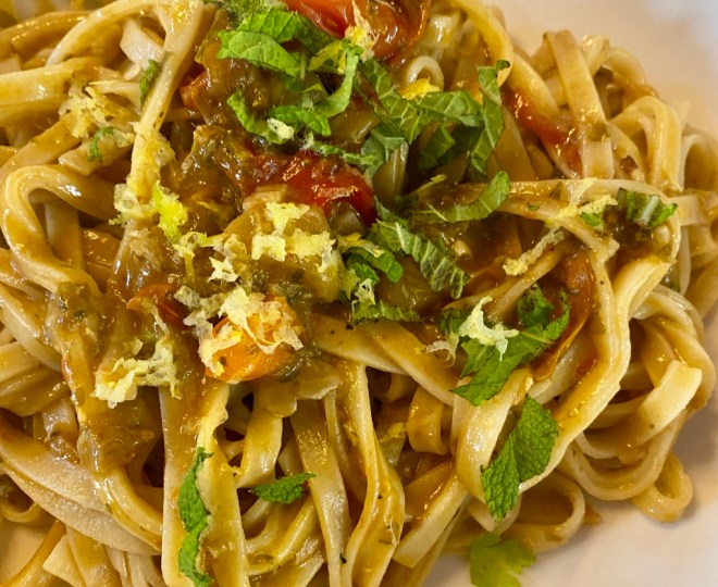 Pasta with Anchovies, Tomatoes, and Mint