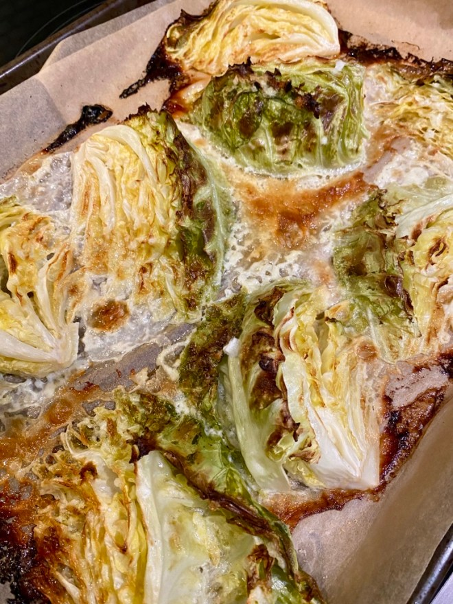 Cabbage roasted with cream and parmesan