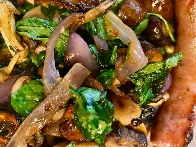 Sheet pan spinach and mushrooms with sausages