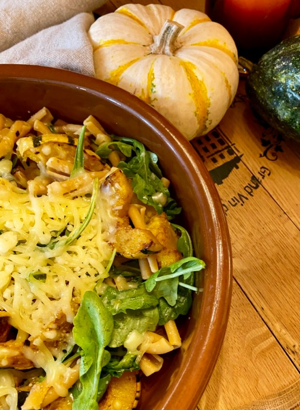 October – Spicy Delicata Squash Pasta with Arugula