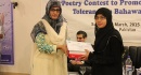Poetry Competition to Promote Peace and Tolerance in Bahawalpur - Hira Jalilis receiving her prize of first position from Prof Dr Zahid Hassan