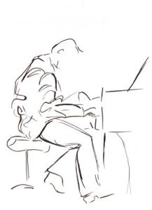 gesture drawing of piano player