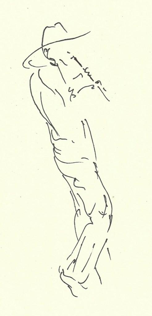 drawing of flutist