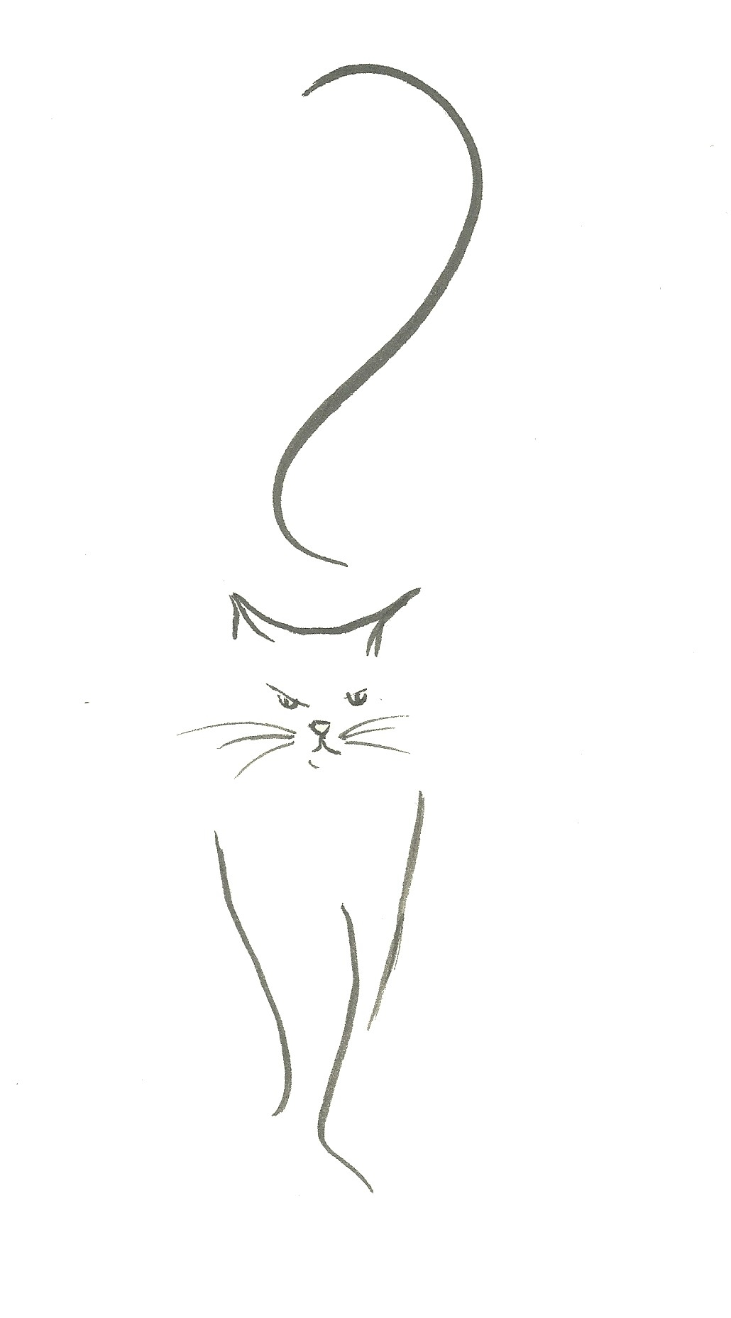drawing of a cat walking