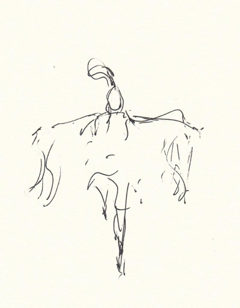 drawing of female shawl dancer