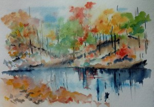 autumn reflections in river