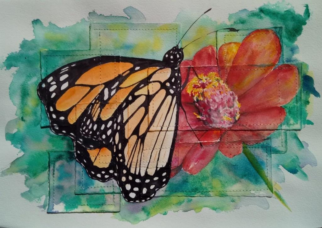 watercolor of monarch on a zinia