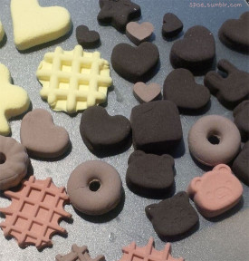 Air dry clay work - sweets in progress for Valentine's day!