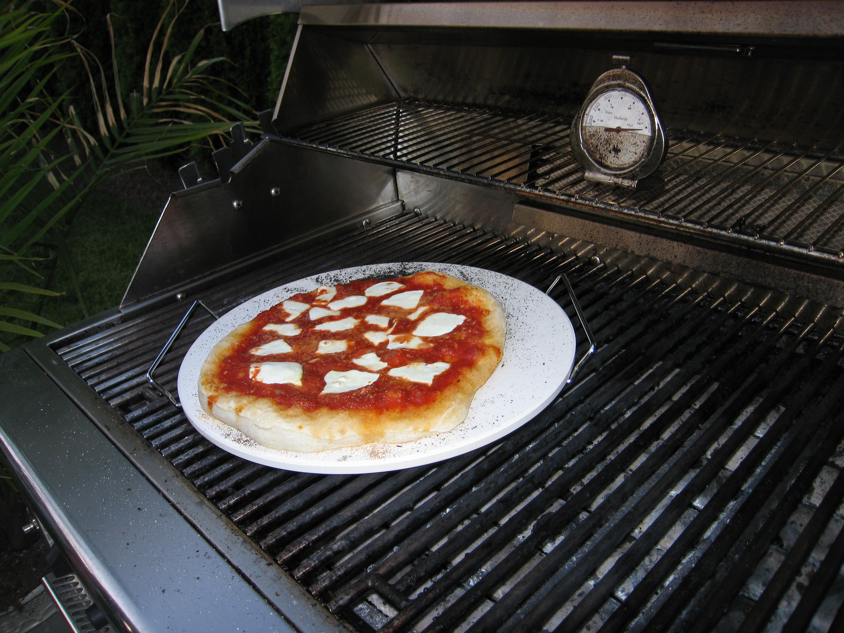 Pizza on the BBQ using a Pizza Stone