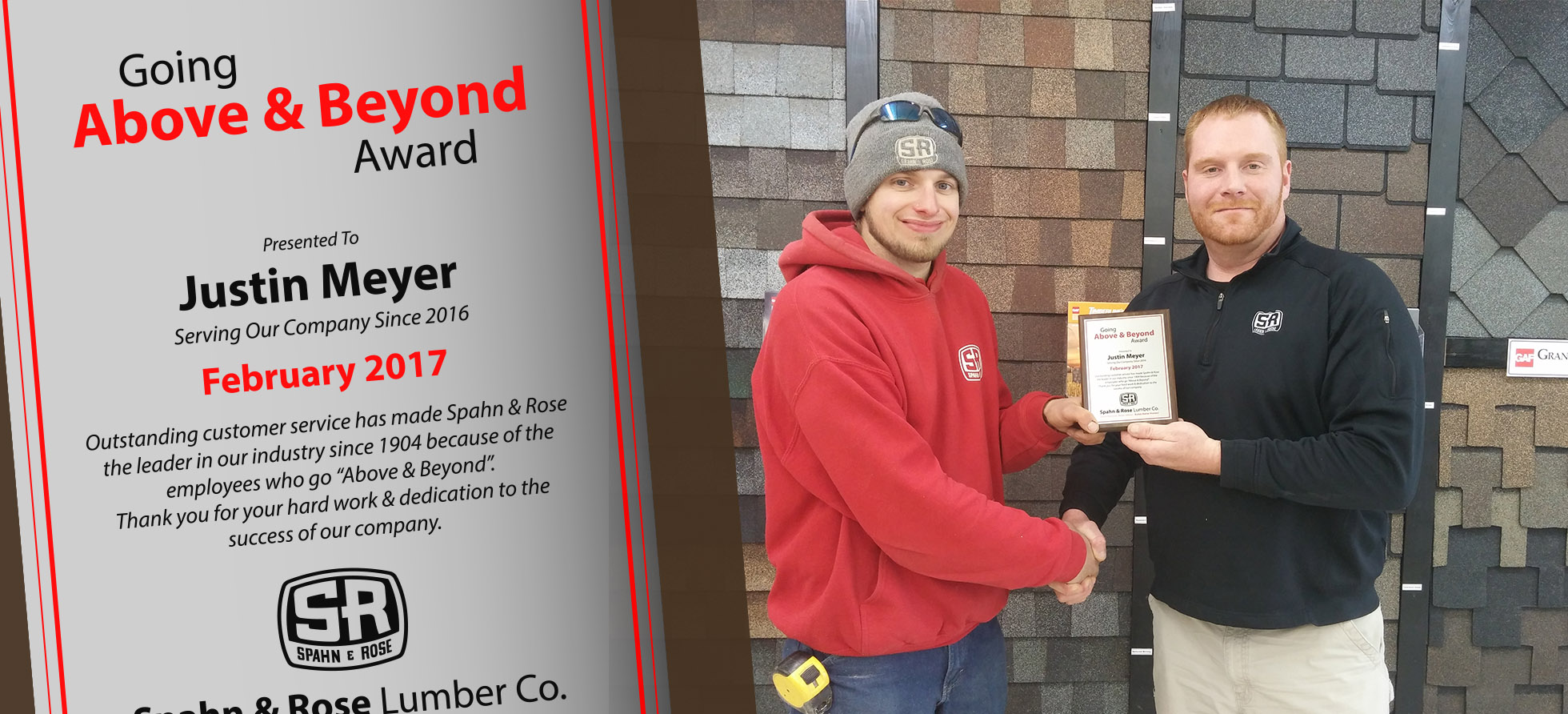 Justin Meyer Above & Beyond Winner