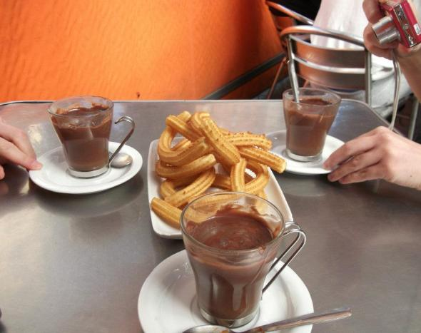 churros, chocolate, spain, cordoba, breakfast