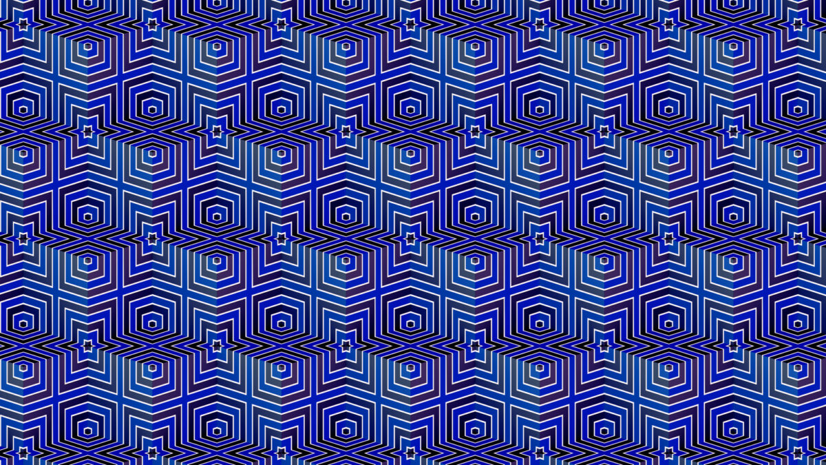 many metallic blue red repeating cubes