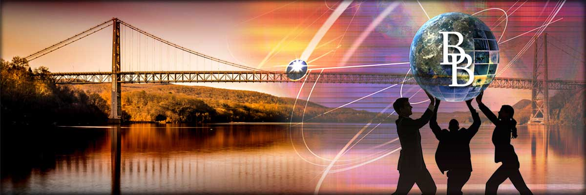 header background of people holding up BB globe and Hudson Valley bridge