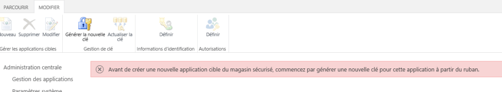 Configuration du Secure Store Service et ajout d'une application afin de créer un type de contenu externe (1/6)