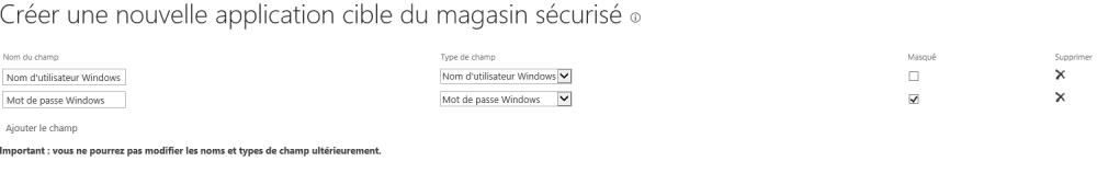 Configuration du Secure Store Service et ajout d'une application afin de créer un type de contenu externe (4/6)