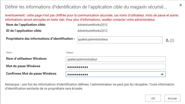 Configuration du Secure Store Service et ajout d'une application afin de créer un type de contenu externe (6/6)