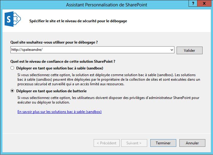 Création d'un type de contenu externe et utilisation du secure store service  via Visual Studio 2012 (2/6)