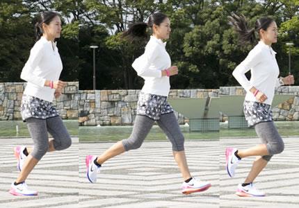 正しいジョギングフォームの女性