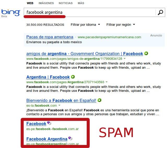 resultado spam en bing para la busqueda facebook argentina
