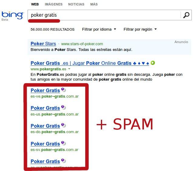 spam en bing