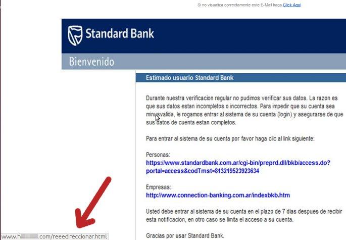 correo falso banco