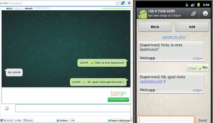 Chat de Websapp similar al de WhatsApp