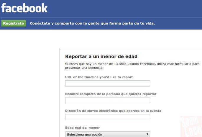 denunciar menor de edad en facebook