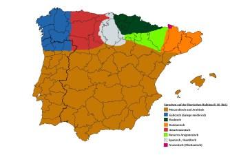 Sprachen auf der Iberischen Halbinsel im 10. Jhd.