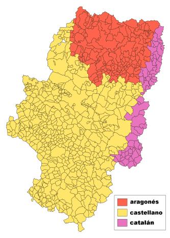 Das hier ist die Karte der sprachlichen Einteilung Aragóns. Die Basis dafür liegt aber in Sprecherzahlen von vor 50 Jahren und ist nicht aktuell.