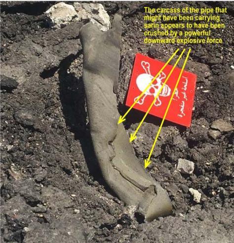 """El tubo que habría difundido el gas sarin en Jan Sheijun y que sería la """"bomba"""" arrojada por un avión sirio, según la Casa Blanca"""