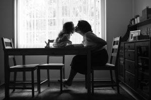 Vicky & Mami Kissing B&W