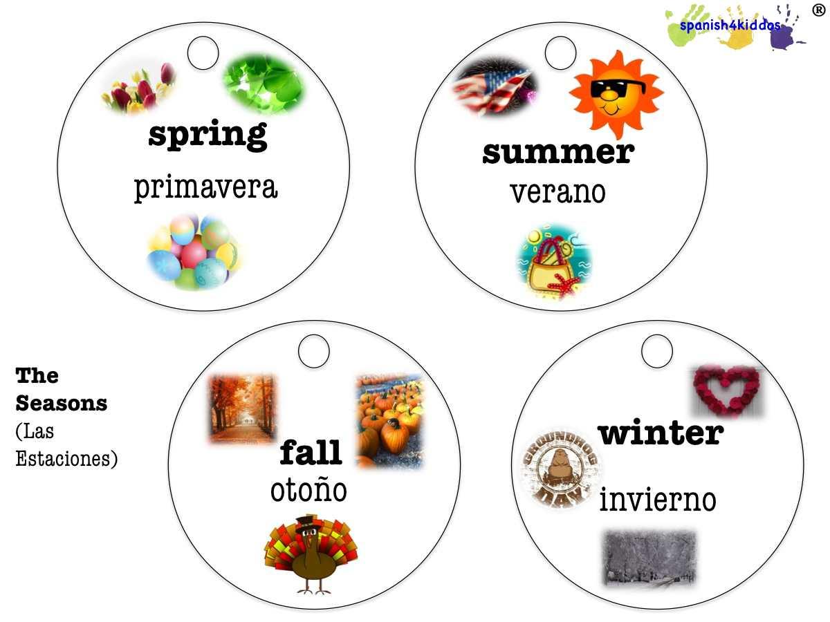 Spanish Seasons Spanish4kiddos Educational Resources