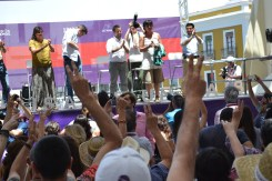 Podemos candidates are welcomed on stage.