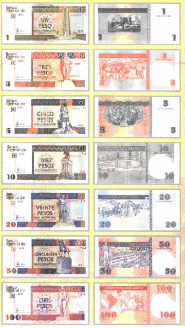 billetes del peso cubano convertible CUC