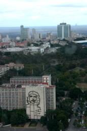 Vista aérea de la Habana y la Plaza de la Revolucion