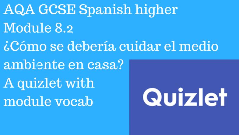 AQA GCSE Spanish higher Module 8.2 ¿Cómo se debería cuidar el medio ambiente? Quizlet