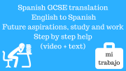 Spanish GCSE translation – English to Spanish : Future aspirations,study and work