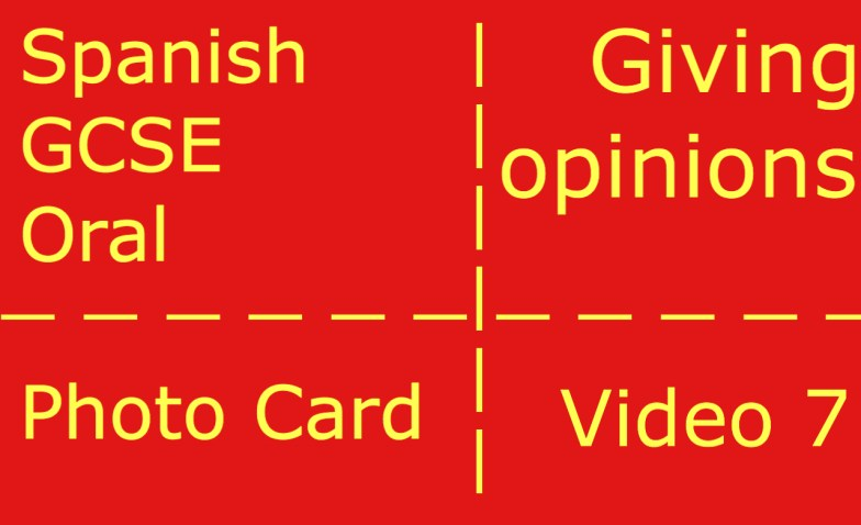 GCSE Spanish oral - photocard - giving opinions