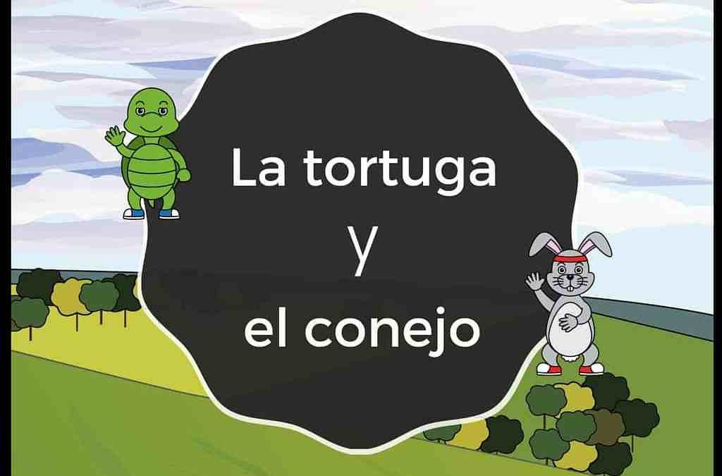 La tortuga y el conejo, a fable told in novice-low Spanish for beginners.
