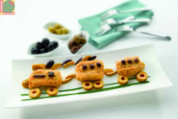 Для детей: кусочки рыбы в оливках