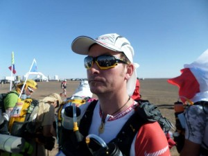 Mick about to embark on his adventure in the Marathon des Sables