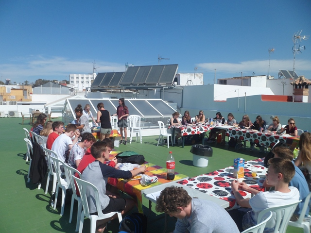 Lunch on roof made use of the roof!